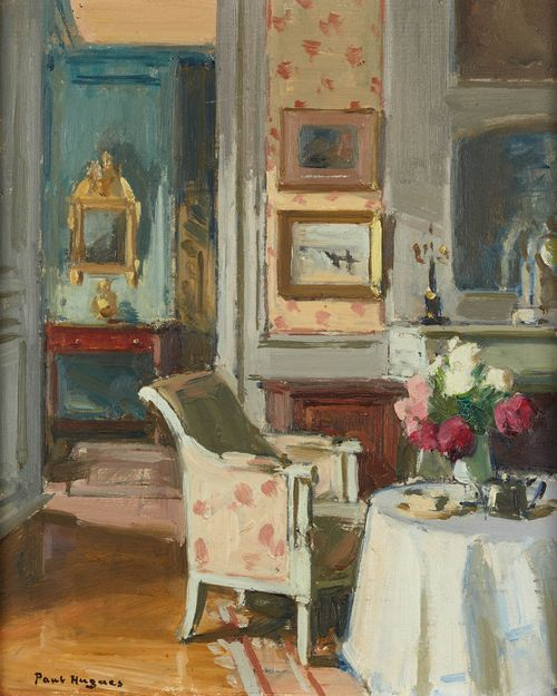 Scène d'intérieur, date unknown. Paul Jean Hughes 1891-1972 (France) http://www.artvalue.fr/auctionresult--hugues-paul-jean-1891-1972-fra-scene-d-interieur-3969374.htm