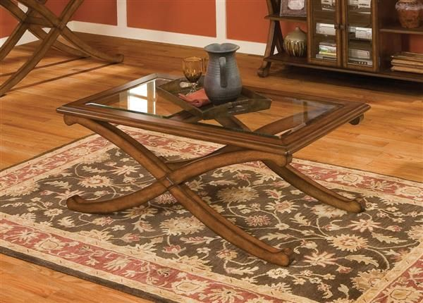 Madrid Transitional Brown Cherry Wood Glass Rectangle Cocktail Table