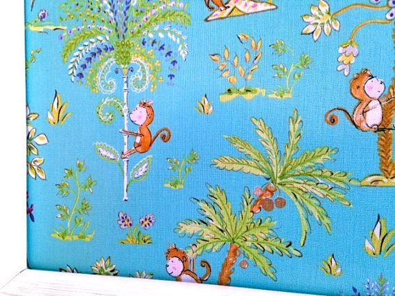 Monkeys Teal Fabric Covered Jewelry Board Pin by Sisters4Style