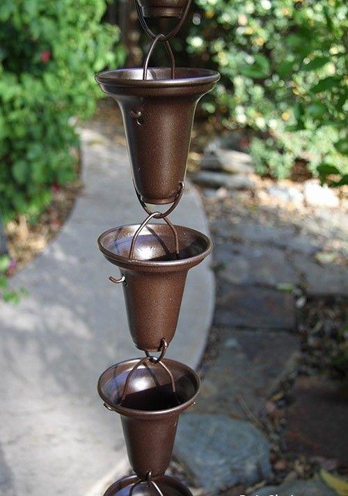 NEW Bronze Flared Cups Aluminum Rain Chain