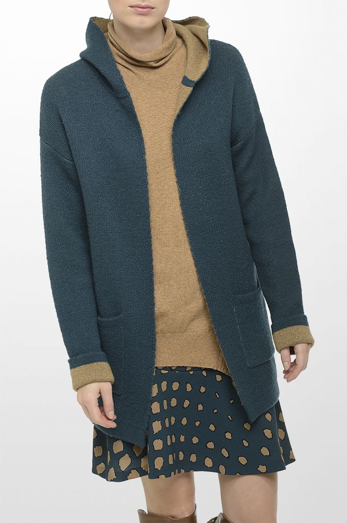 Sarah Lawrence - double face knitted cardigan with hood, asymmetrical collar neck sweater, A line printed skirt.