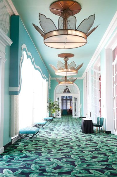 Turquoise and Teal Hallway Entryway