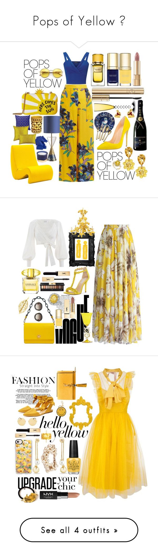 """Pops of Yellow 🌻"" by pulseofthematter ❤ liked on Polyvore featuring Diane Von Furstenberg, Miss Selfridge, Alice + Olivia, Dolce&Gabbana, Vitra, Baccarat, iittala, Lindt, Ballard Designs and Sophia"