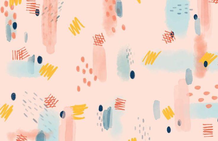 Blue and Pink Brush Stroke Wallpaper Mural | MuralsWallpaper