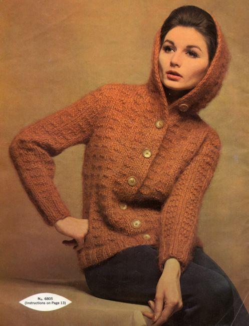 Vintage cardigan style: Autumn hooded mohair863