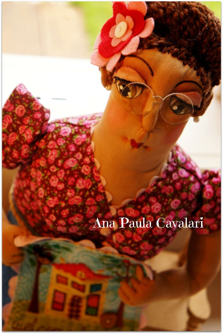 Doll made whole fabric , sculpted face , doll art , cloth doll, Miss Quilt https://www.facebook.com/ApCavala