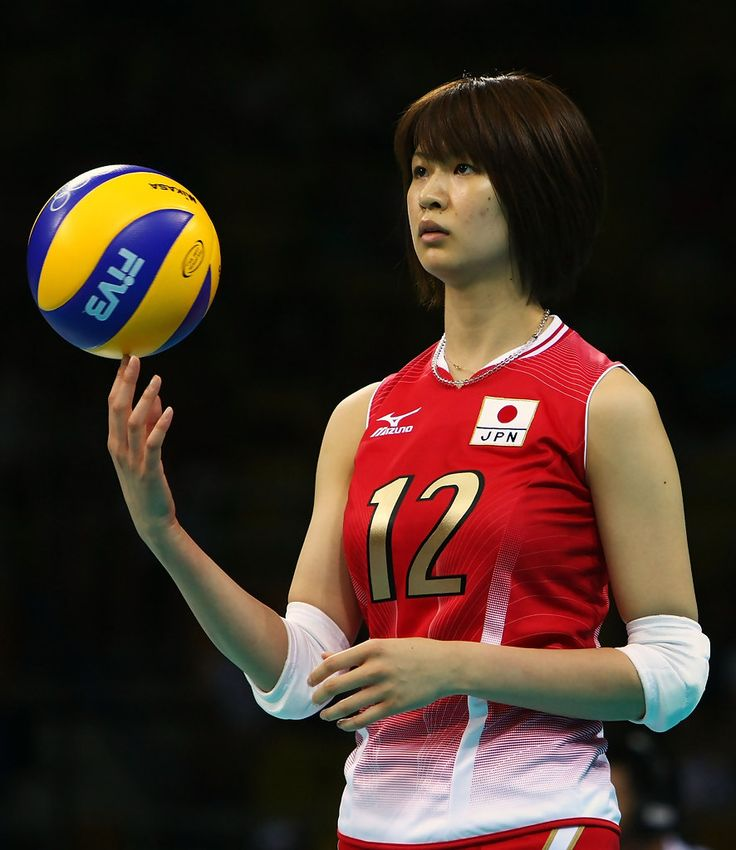 Saori Kimura of Japan warms-up before taking on the United States in their preliminary match during the women's volleyball at the Capital Indoor Stadium during Day 1 of the Beijing 2008 Olympic Games on August 9, 2008 in Beijing, China.