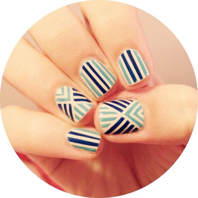 Fun stripes navy, white & mint