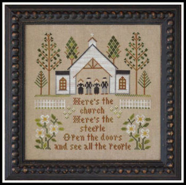 Here's The Church is the title of this cross stitch pattern from Little House Needleworks that is stitched with Classic Colorworks