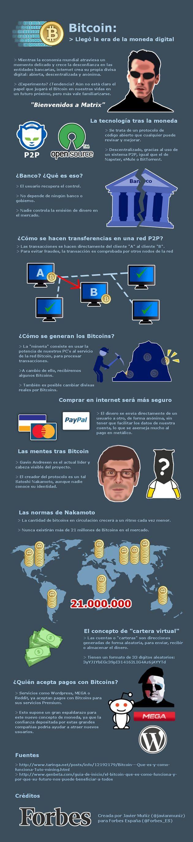 Si aún no sabes de qué va eso de las #bitcoins, aquí tienes una infografía que ayudará a entenderlo