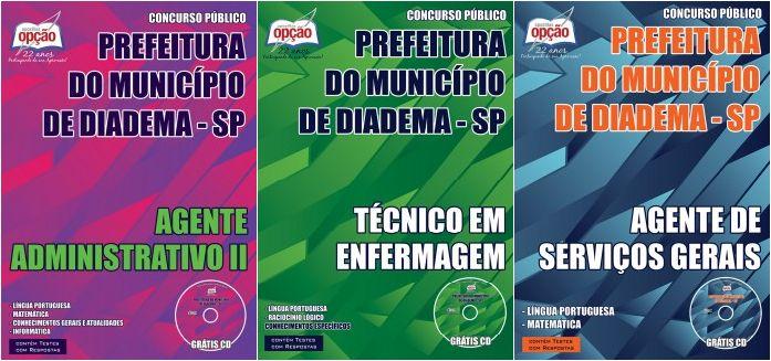 Apostilas Concurso Prefeitura do Município de Diadema / SP - 2015: - Cargos: Agente de Serviços Gerais, Agente Administrativo II e Técnico em Enfermagem