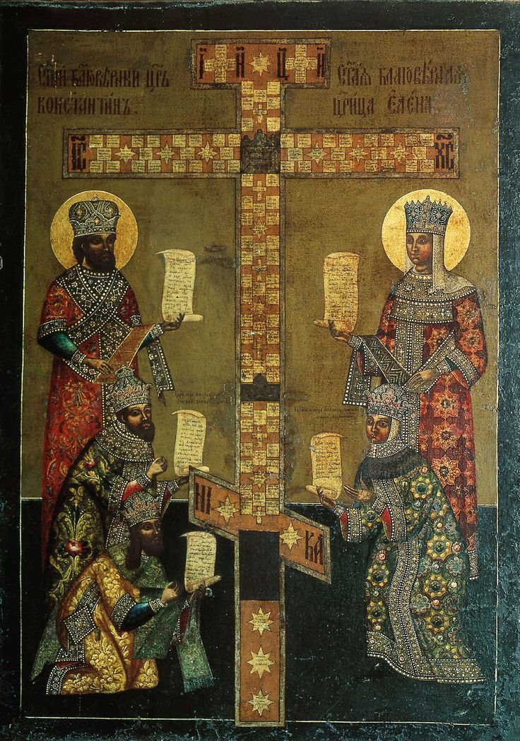 Icon depicting The Cross of Kiy, a replica of the True Cross with holy relics commissioned by Nikon, Orthodox patriarch of Moscow, in 1656. On the left are the images of Saint Emperor Constantine the Great, Tsar Alexey Mikhaylovich and Patriarch Nikon. To the right: Saint Empress Helena and Tsarina Maria Ilyinichna.