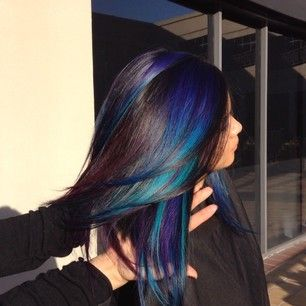 Blue turquoise green highlights Can someone PLEASE do this to my hair??