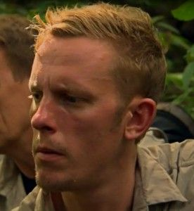 Laurence Fox, his serious look, in bear Grylls' Mission Survive:.