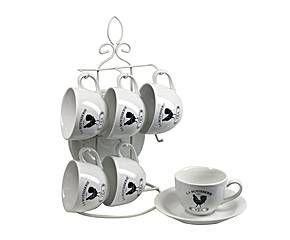 Set de tazas de café con soporte