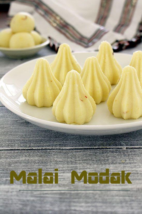 Malai modak recipe (Paneer modak) for ganesh chaturthi - modak made from ONLY TWO ingredients, paneer and condensed milk. Or make malai ladoo