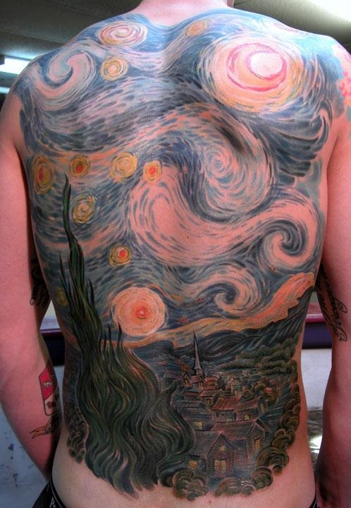 Artist Chris Dingwell - Sanctuary Tattoo, Portland Maine  STARRY NIGHT BACK PIECE!!