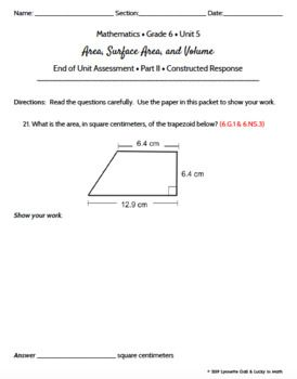 Grade 6   Area, Surface Area, Volume Geometry Math