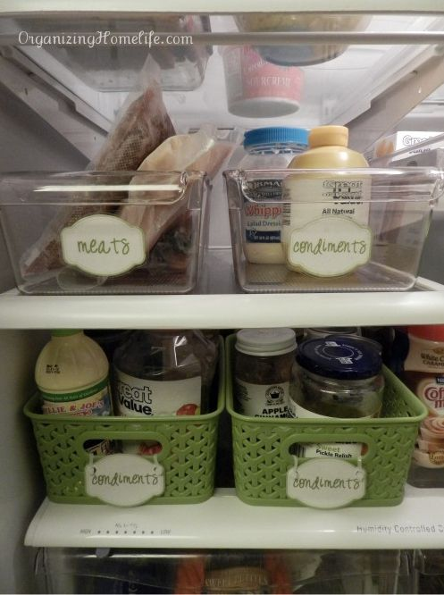 LABEL the baskets. | 27 Brilliant Hacks To Keep Your Fridge Clean And Organized