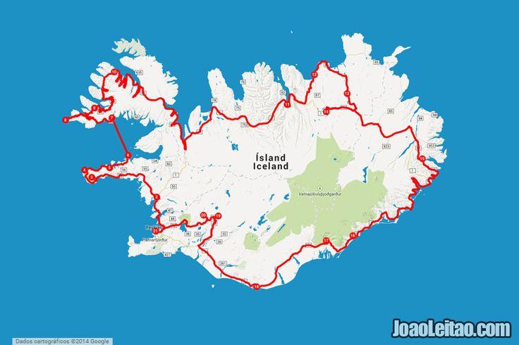 mapa do anel viário   Península dos Fiordes Ocidentais – conduzir pela Islândia