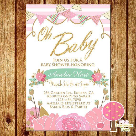 Oh Baby Gold Glitter Baby Shower Invitation by PinkLemonadeTree …