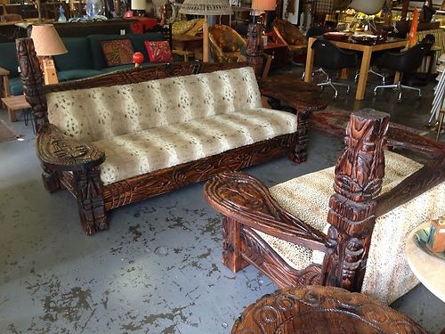 Pair Vintage Witco Carved Wood TIKI God Sofas & Tables