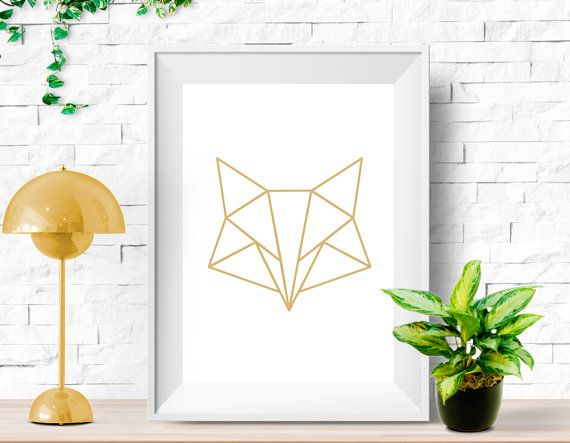 Instant download poster - Geometric fox - Gold - Minimalist design, ready to print and display. 24x36 Inches (61x91cm can be printed in smaller)