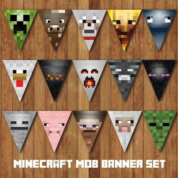 DIY Minecraft Mobs Birthday Party Bunting Banner - Printable Instant Download