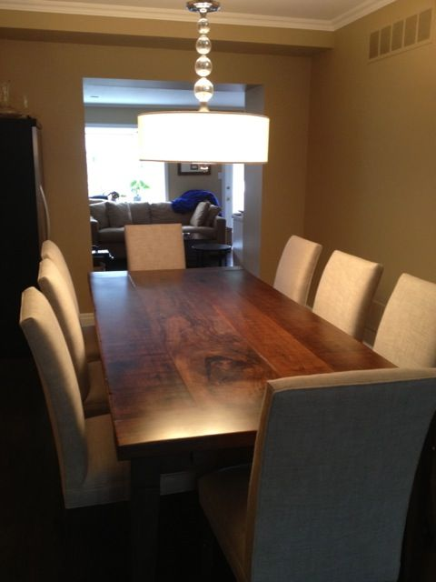 Love it with the parsons chairs, exactly what I picture Rustic Black Walnut Modern Harvest Table