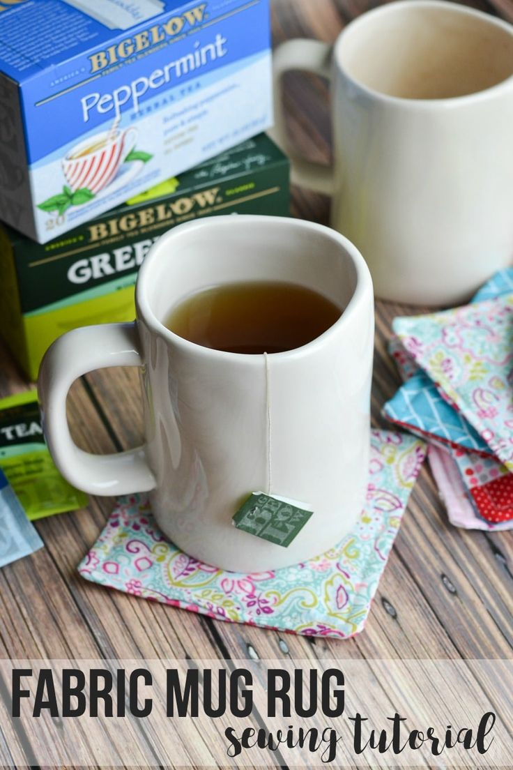 This fabric mug rug is a perfect project for someone just learning to sew but would also be great for the more advanced sewing crowd to whip up with some fabric scraps! Then place your favorite mug of Bigelow hot tea on your new fabric coaster! #TeaProudly #ad