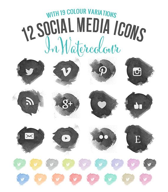 Social Media Icons, PNG + PSD Files - Whimsical Chic Water-colour - multicolour,grey,black,paint on Etsy, $6.00