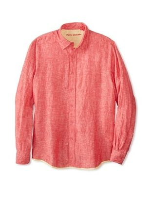 54% OFF Report Collection Men's Long Sleeve Solid Linen Woven Shirt (Cherry)