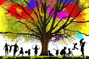 family playing under the branches of a tree