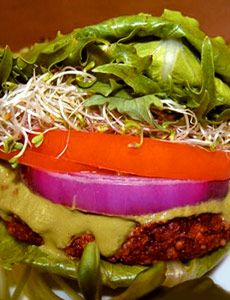 Raw Vegan Mediterranean Burgers with Pesto    The burgers are made from:  1 cup walnuts  1 cup hulled sunflower seeds  2 cups sprouted lentils   1/2 cup coarsely chopped purple cabbage  1 1/2 cups coarsely chopped celery   1 medium lemon, peeled and quartered  1 cup sun-dried tomatoes, soaked 1 hour if not already soft  1/4 cup cold-pressed olive oil  1/2 teaspoon sea salt