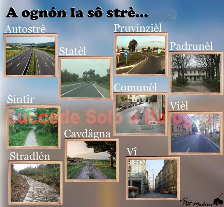 Street Names in Bolognese dialect.   www.succedesoloabologna.it