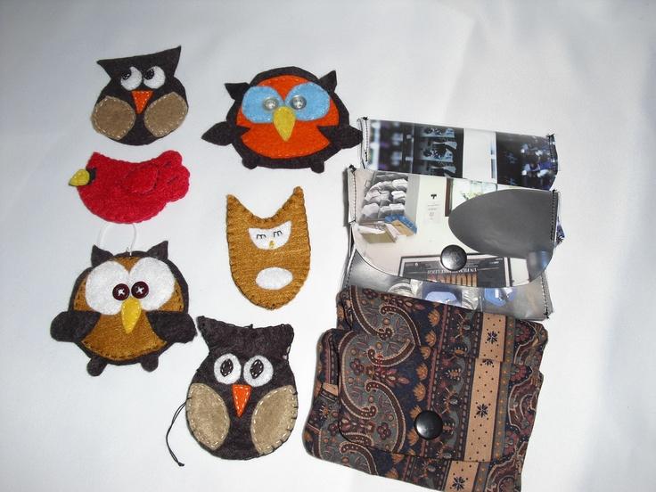 Owls,Cardinal ornaments, paper/cloth card wallets,