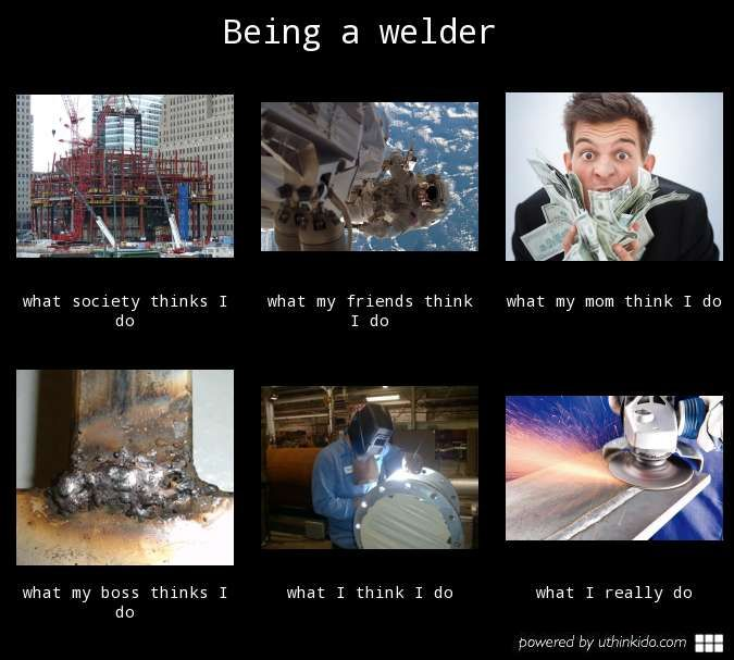 Being a welder, What people think I do, What I really do meme image - #welder