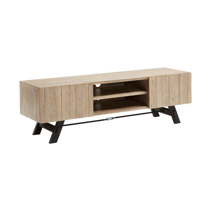 #Mueble de #televisión en #madera de acacia maciza en acabado #natural blanqueado. Pies en #metal pintado envejecido.