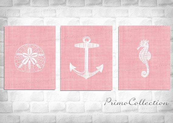 Nautical Nursery Art Prints / Pink / beach by PrimoCollection