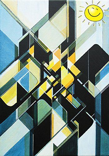 42cm x 30cm x 2cm #Original abstract painting on stretched deep edge canvas This work was inspired by Futurism and Vorticism, and 20th century geometric abstract...