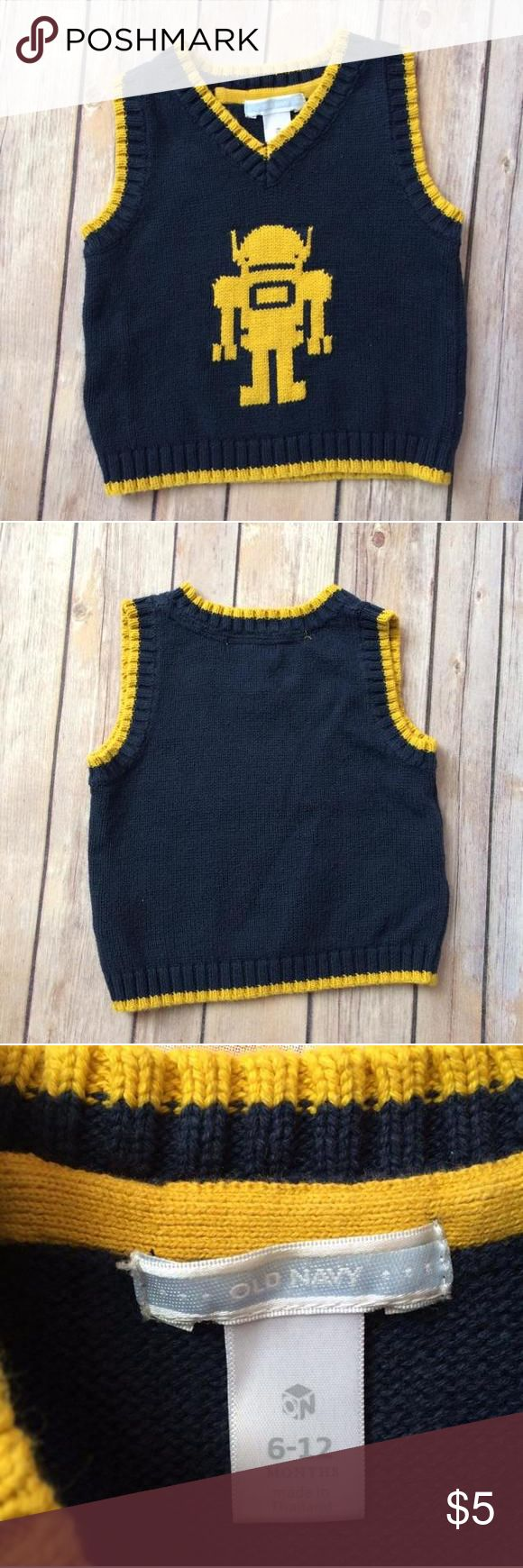 Old Navy Sweater Vest Navy blue and yellow sweater vest with a robot on the front. Old Navy Shirts & Tops Sweaters