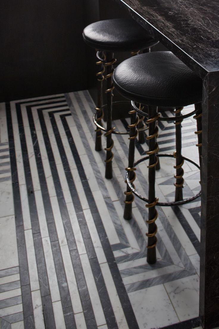 KELLY WEARSTLER X ANN SACKS. 'Liaison Hillcrest' stone patterned tiles