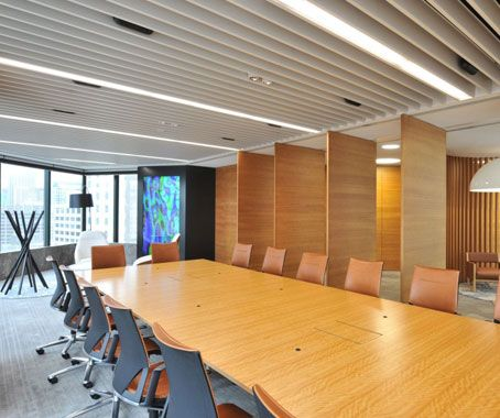 Cool operable wall, love the orange chairs - Credit Suisse in Sydney Australia by Group GSA interiors team