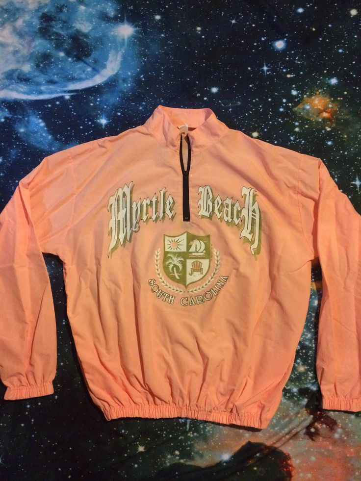 Vintage Myrtle Beach South Carolina 3/4 Zip Up Light Neon