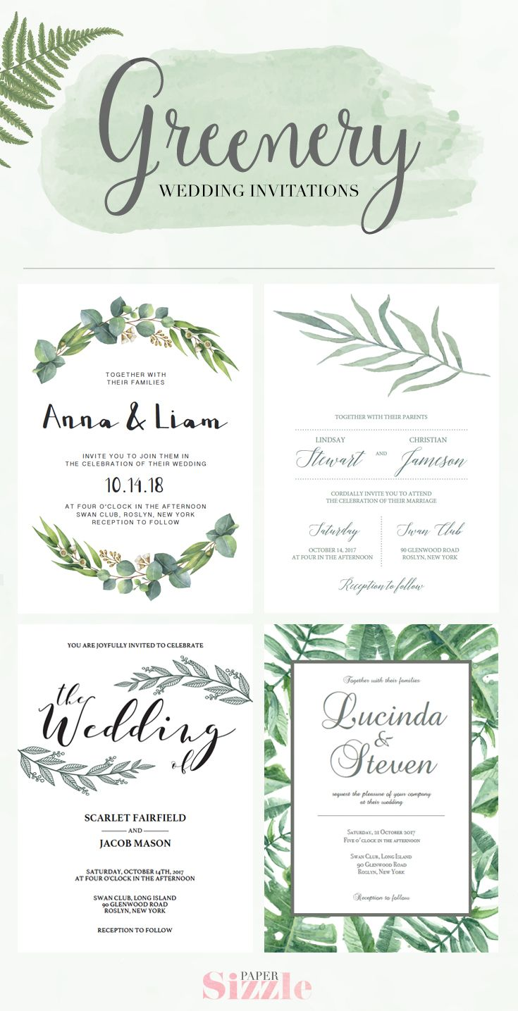 Lush greenery wedding invitations are on trend. These wedding invitations designed by Papersizzle are perfect for any outdoor wedding. The templates are editable in Adobe Acrobat Reader (free version), which make them easy AND affordable as there is no need for a professional editor. Complete the look with matching add-ons, like rsvp cards, menu's, wedding programs, and more. Sign up for our newsletter at https://papersizzle.com/pages/newsletter and receive 15% off your first order!