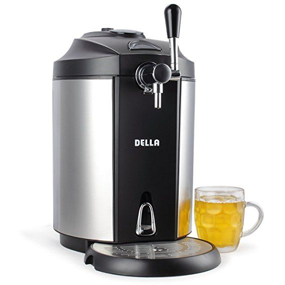 Della Mini Beer Kegerator Stainless Steel Portable System Micro Foam Technology Cold Draft Tap Pint Glass Kegerator Gifts For Beer Lovers Beer