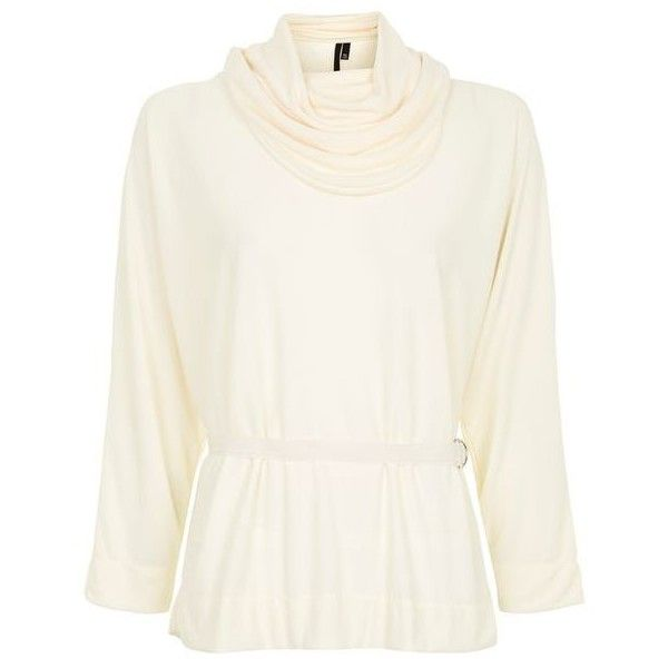 Cowl Batwing Blouse by Boutique ($61) ❤ liked on Polyvore featuring tops, blouses, white batwing top, belted blouse, cowl top, batwing sleeve blouse and batwing tops