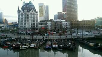 Old Harbour Rotterdam, with the white house which was once the highest building in Europe.