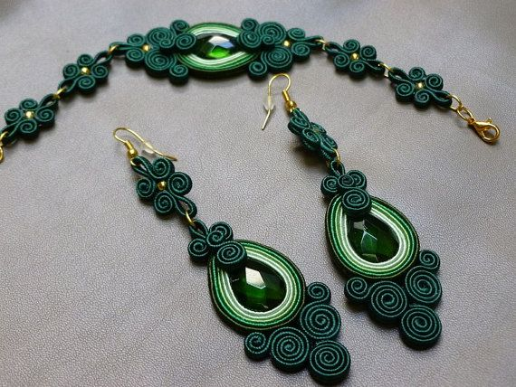 Green power soutache set by JoannaArt77 on Etsy, $39.00