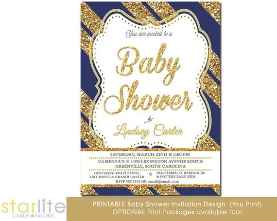 navy gold baby shower invitation navy blue gold by starwedd